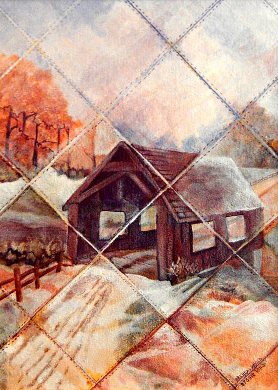 Covered Bridge Poster featuring the painting By Gone Bridge by Brenda L Baker