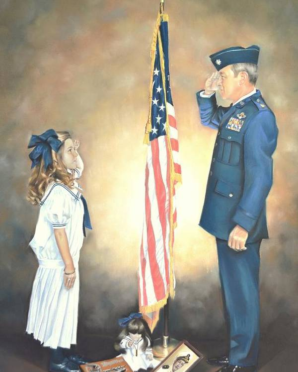 Flag Poster featuring the pastel By The Dawn's Early Light by Sally Buffington