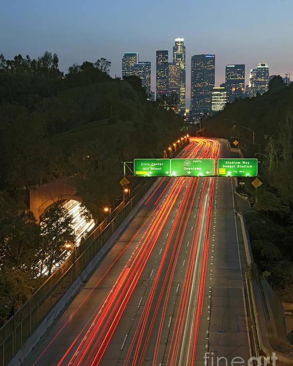 Ca 110 Pasadena Freeway Poster featuring the photograph Ca 110 Pasadena Freeway Downtown Los Angeles At Night With Car Lights Streaking_2 by David Zanzinger