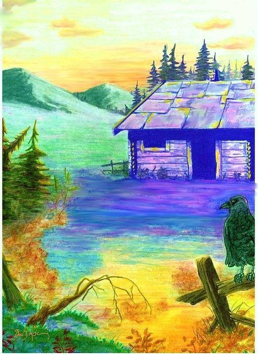 Landscape Poster featuring the painting Cabin In The Woods by Brad Simpson