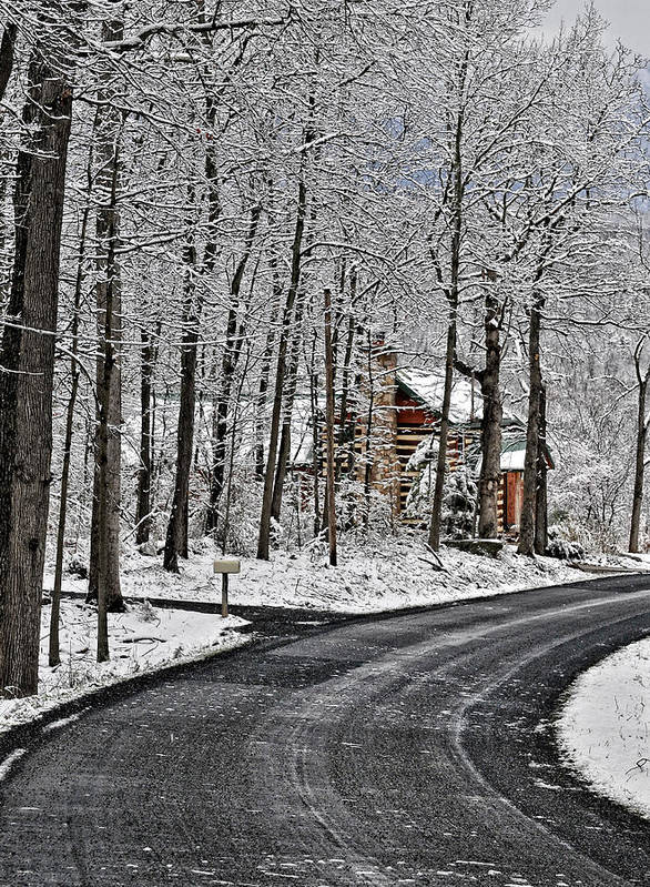 Peaceful Winter Scene Poster featuring the photograph Cabin In The Woods by Lara Ellis