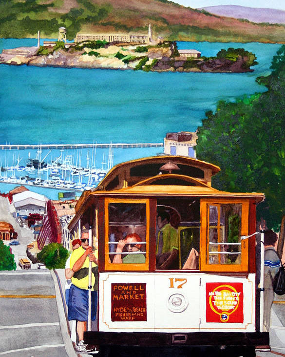 San Francisco Poster featuring the painting Cable Car No. 17 by Mike Robles