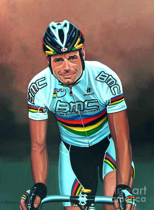 Cadel Evans Poster featuring the painting Cadel Evans by Paul Meijering