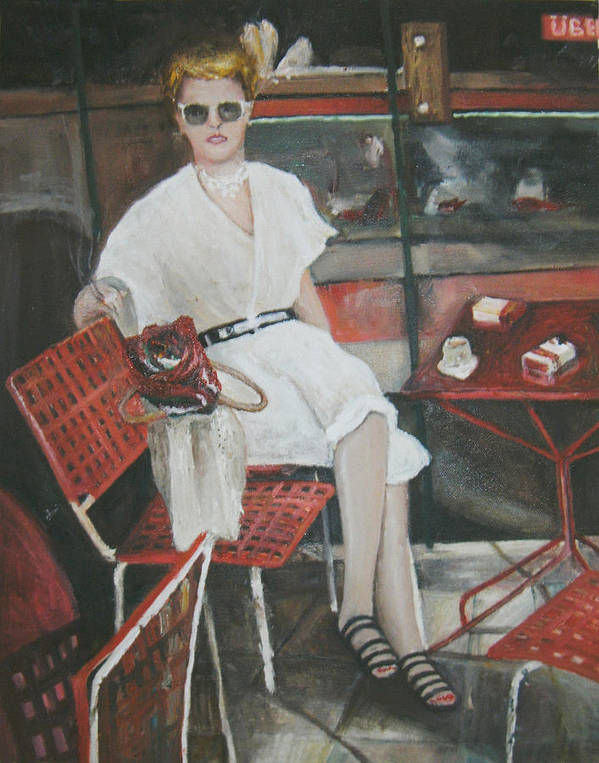 Portrait Of Woman Having Coffee At A Cafe On Top Of Budapest's Metro Station Poster featuring the painting Cafe Budapest by Vasiliki Yiakatou