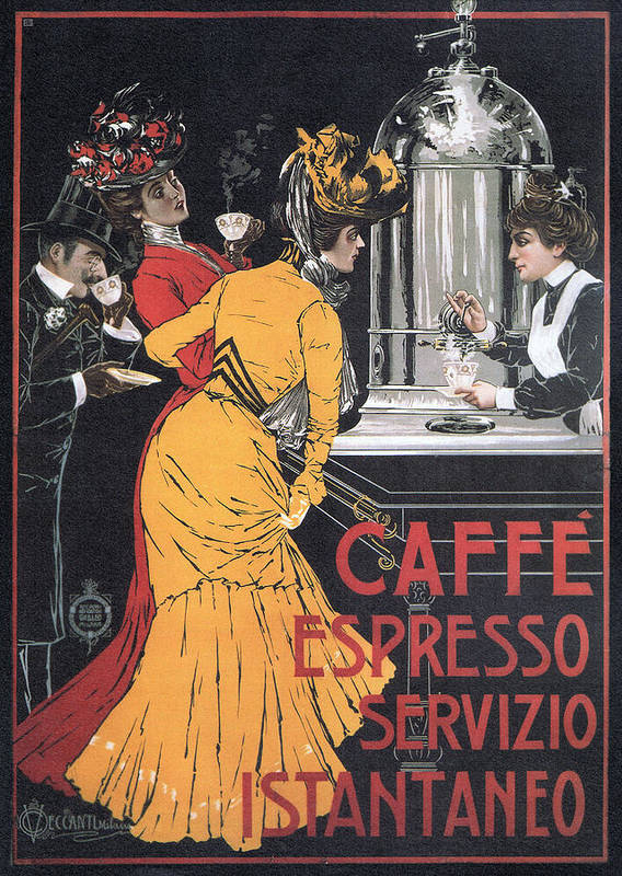 Art Poster featuring the mixed media Cafe Espresso by Charlie Ross