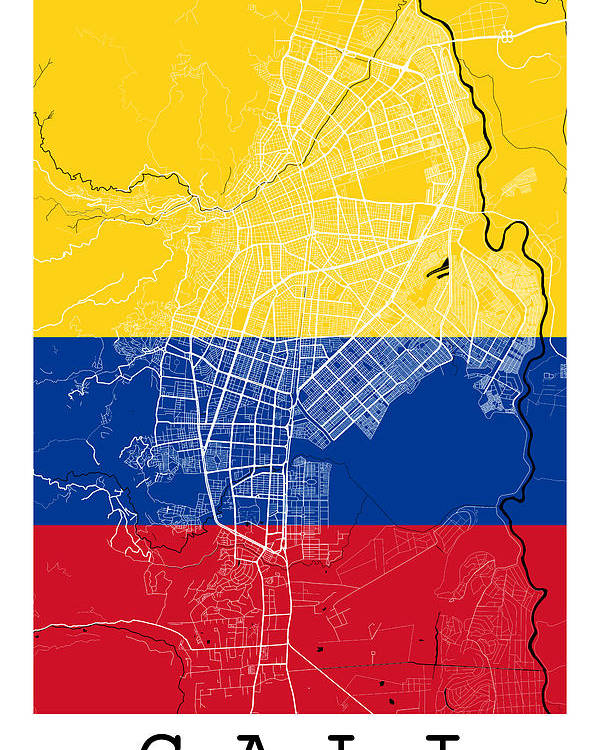 Cali Street Map - Cali Colombia Road Map Art On Colombian Flag ... on