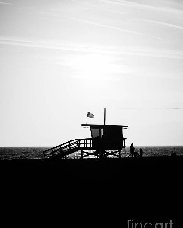America Poster featuring the photograph California Lifeguard Stand In Black And White by Paul Velgos