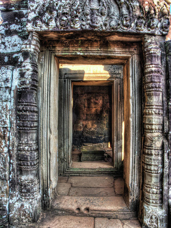Angkor Poster featuring the photograph Cambodia, Angkor Watt, Siem Reap, Faces by Terry Eggers