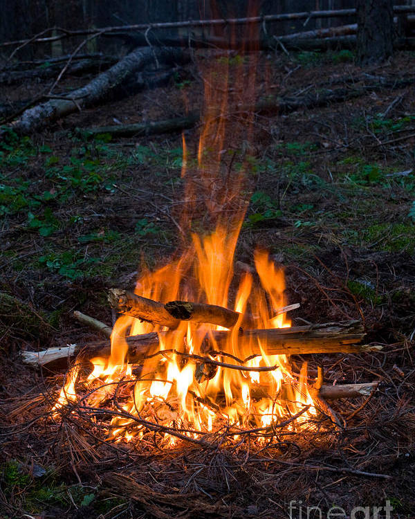 Camp Fire Poster featuring the photograph Camp Fire by Boon Mee