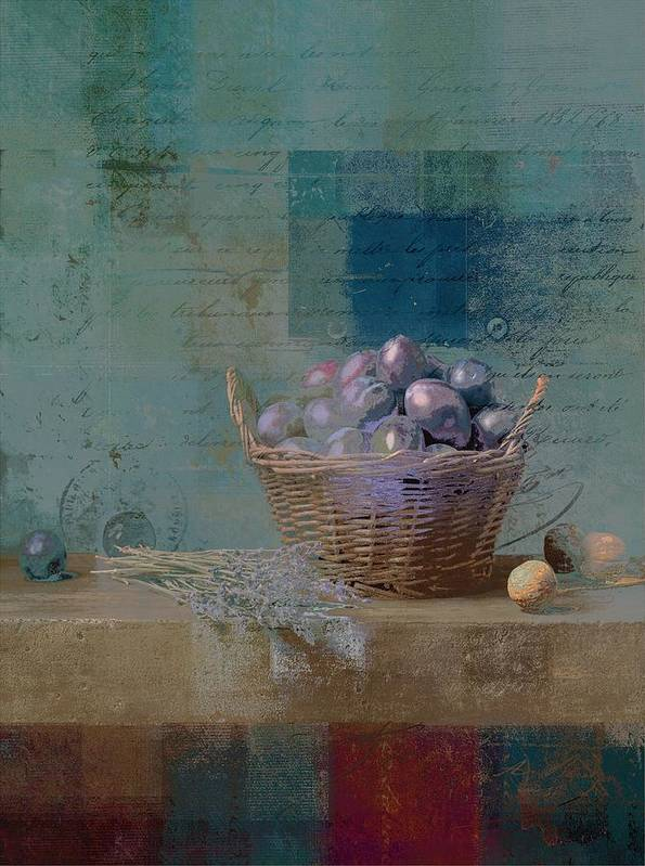 Turquoise Poster featuring the photograph Campagnard - Rustic Still Life - J085079161f by Variance Collections