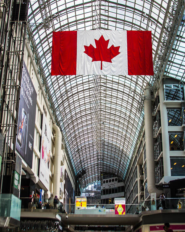 Canada Poster featuring the photograph Canadian Flag Over Eaton Center by Joshua Van Lare