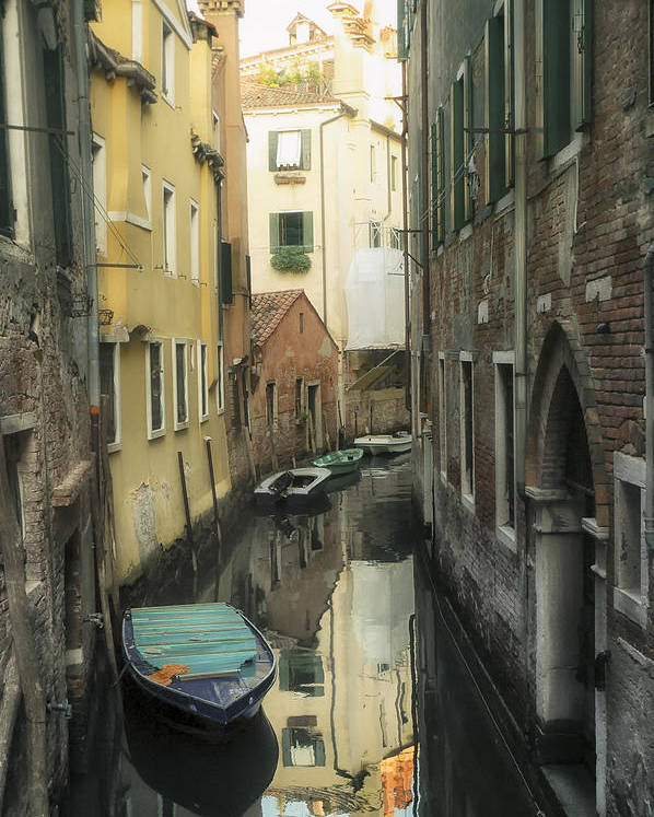 Venice Poster featuring the photograph Canal Boats And Reflections Venice Italy by Marianne Campolongo