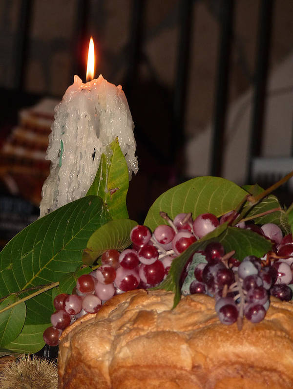 Candle Poster featuring the photograph Candle And Grapes by Marcia Socolik