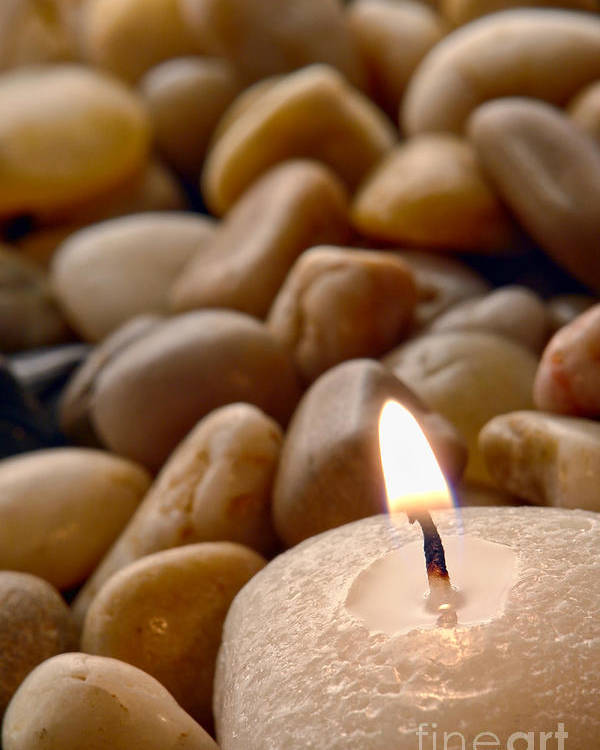 Candle Poster featuring the photograph Candle On The Rocks by Olivier Le Queinec