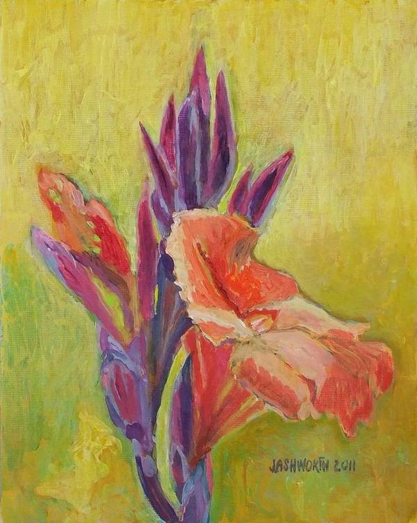 Jann Poster featuring the mixed media Canna Lily by Janet Ashworth