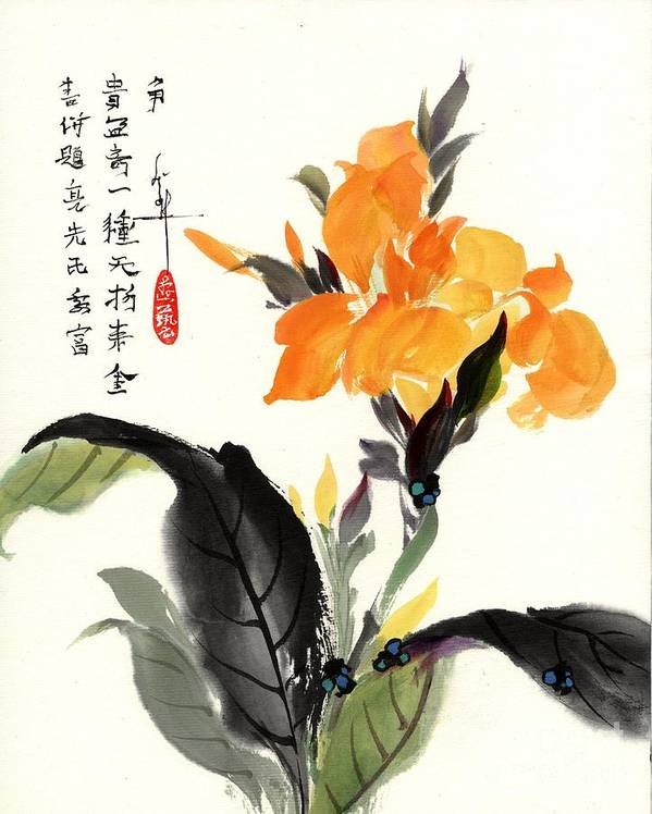 Flower Poster featuring the painting Canna by Linda Smith
