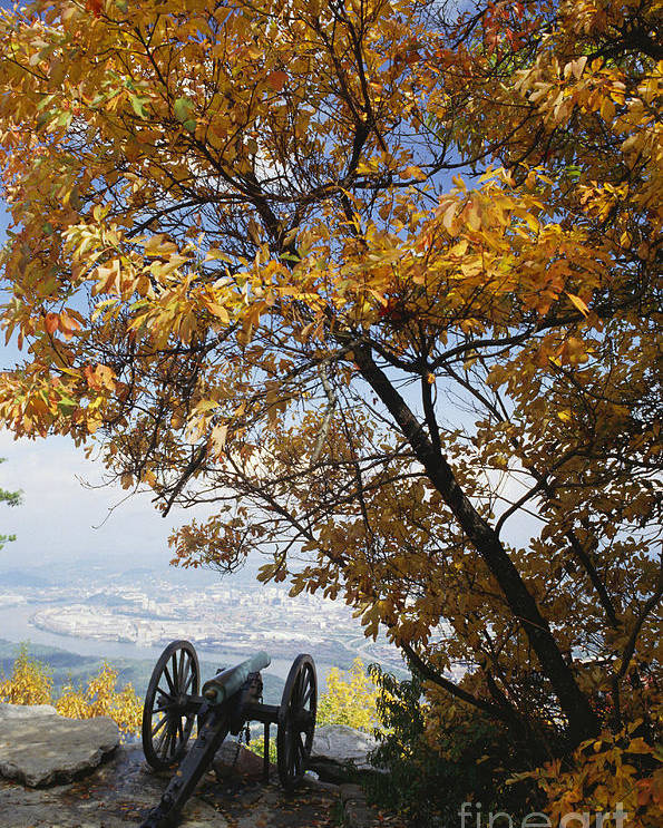 History Poster featuring the photograph Cannon On Top Of Lookout Mountain by Bruce Roberts