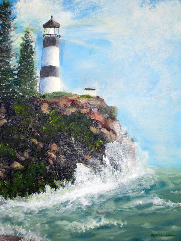 Landscape Poster featuring the painting Cape Disappointment Lighthouse by Marlene Johnson