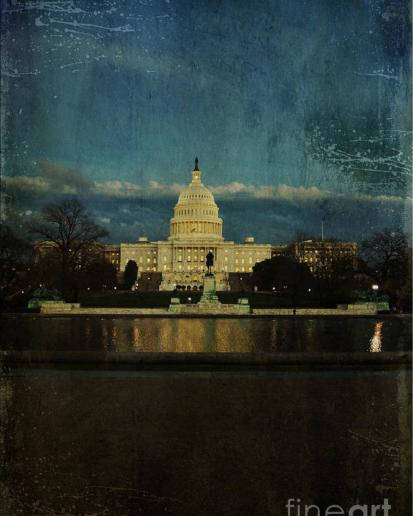 Capitol Poster featuring the photograph Capitol Blues by Terry Rowe
