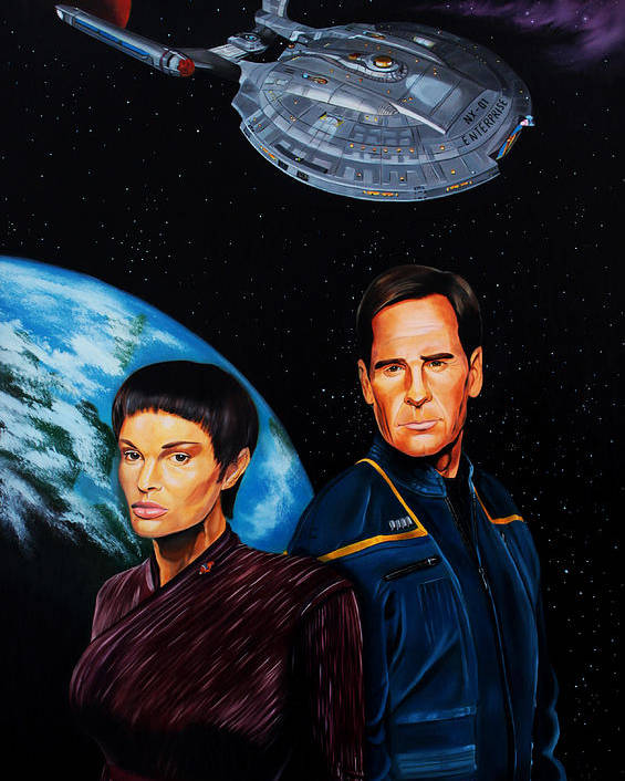 Star Trek Enterprise Poster featuring the painting Captain Archer And T Pol by Robert Steen