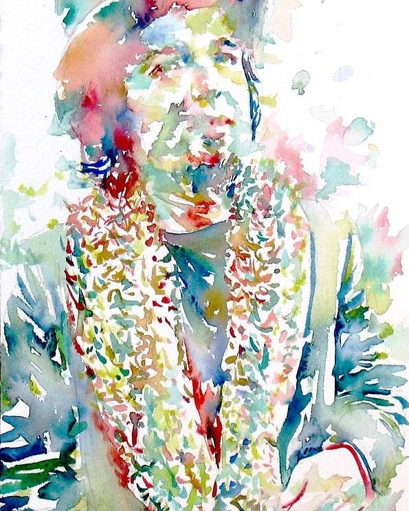 Captain Poster featuring the painting Captain Beefheart Watercolor Portrait.2 by Fabrizio Cassetta