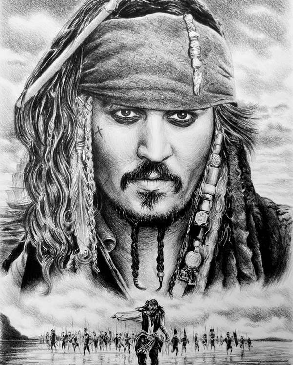 Andrew Read Poster featuring the drawing Captain Jack Sparrow 2 by Andrew Read