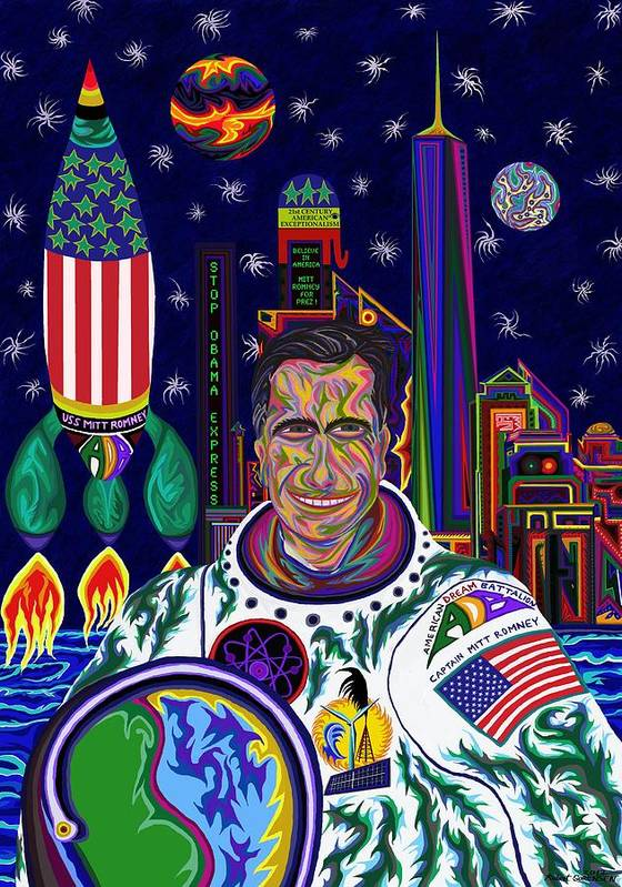 Science Fiction Poster featuring the painting Captain Mitt Romney - American Dream Warrior by Robert SORENSEN