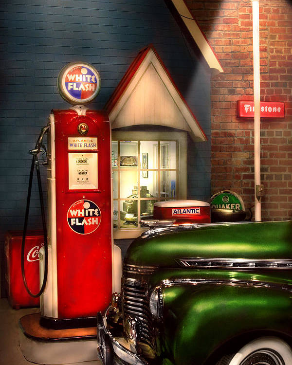 Savad Poster featuring the photograph Car - Station - White Flash Gasoline by Mike Savad