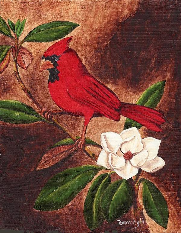 Birds Poster featuring the painting Cardinal II by Brandy House