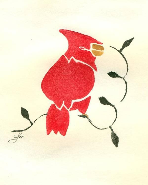 Cardinal Poster featuring the painting Cardinal by Lori Johnson