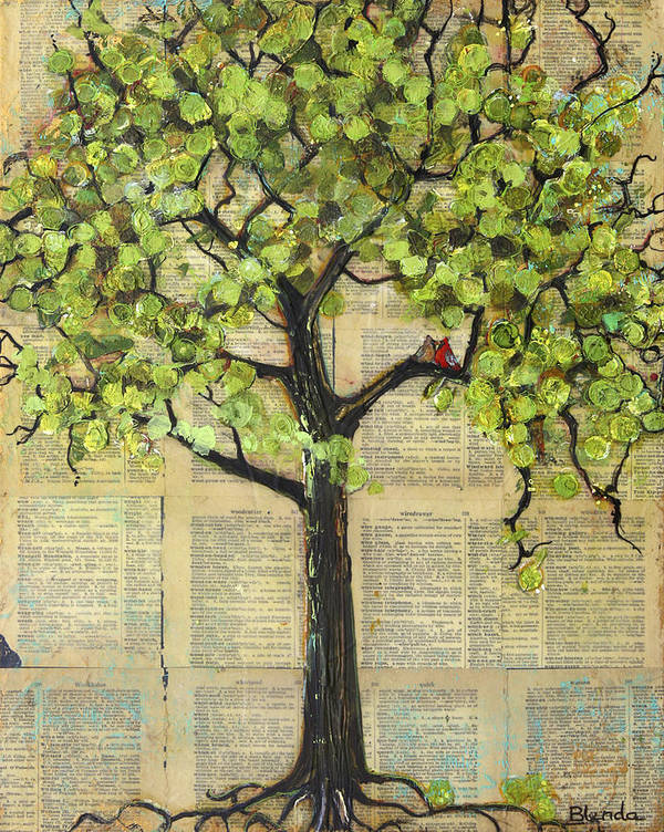 Art Poster featuring the painting Cardinals In A Tree by Blenda Studio