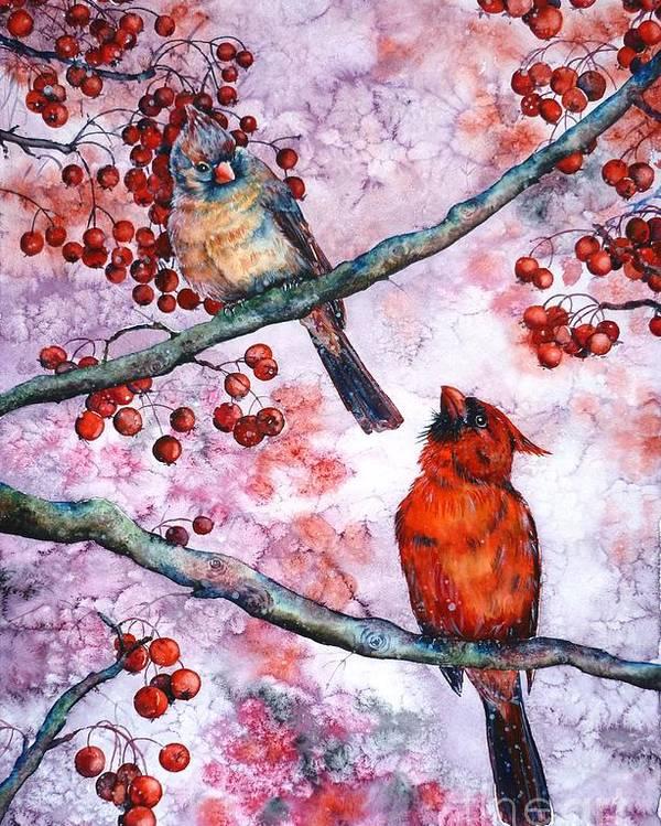 Cardinals Poster featuring the painting Cardinals by Zaira Dzhaubaeva