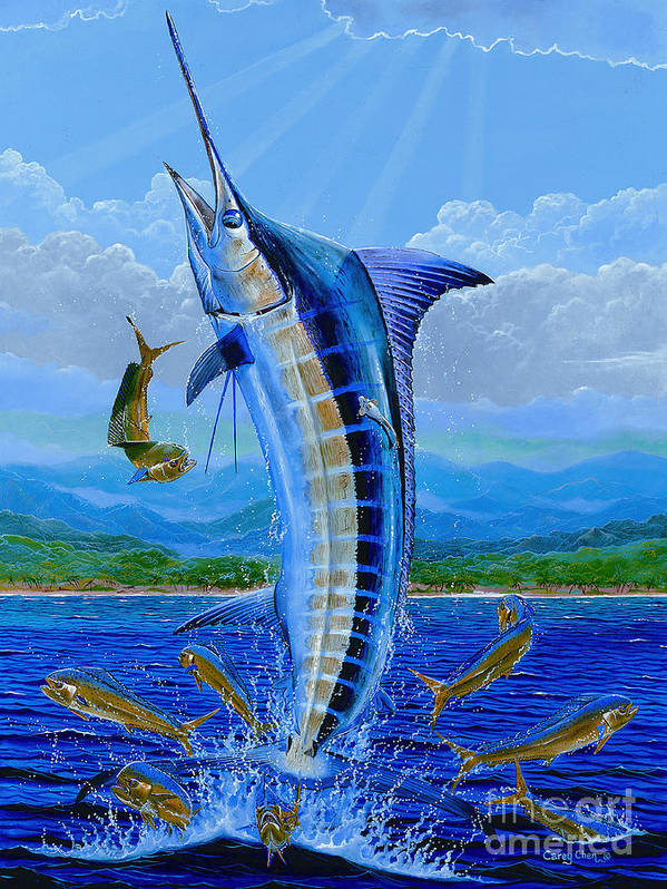 Blue Marlin Poster featuring the painting Caribbean Blue Off0041 by Carey Chen