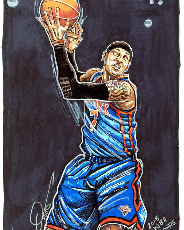 Carmelo Anthony Poster featuring the drawing Carmelo Anthony by Dave Olsen