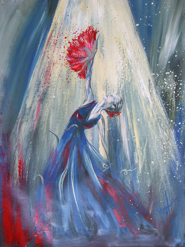 Flower Poster featuring the painting Carnation by Alina Barbuceanu