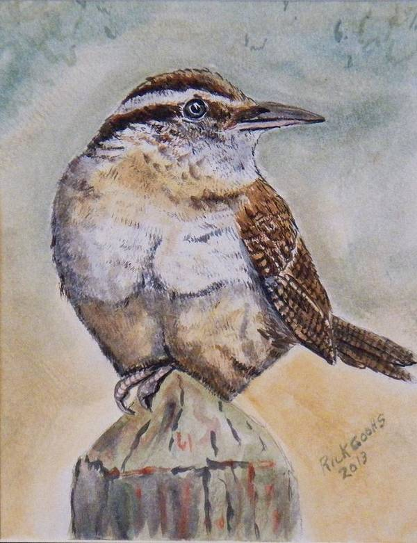 This Carolina Wren Sitting On A Post Waiting For His Turn At The Feeder. Poster featuring the painting Carolina Wren by Richard Goohs
