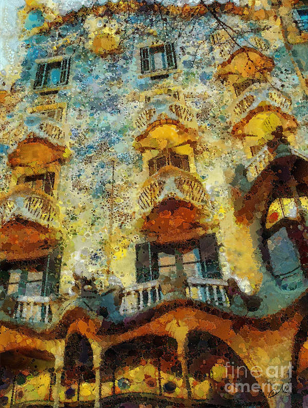 Casa Battlo Poster featuring the painting Casa Battlo by Mo T