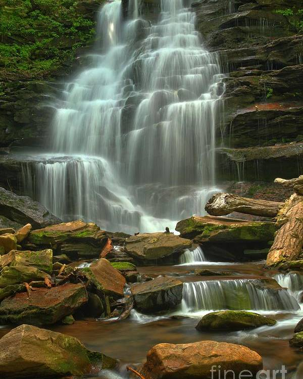 Ricketts Glen Waterfalls Poster featuring the photograph Cascading Through Ricketts Glen by Adam Jewell