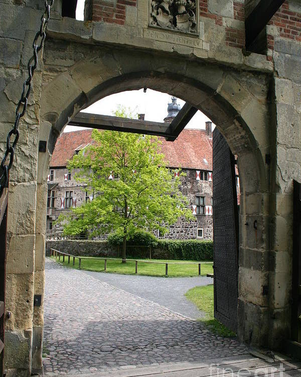 Entrance Poster featuring the photograph Castle Vischering Archway by Christiane Schulze Art And Photography