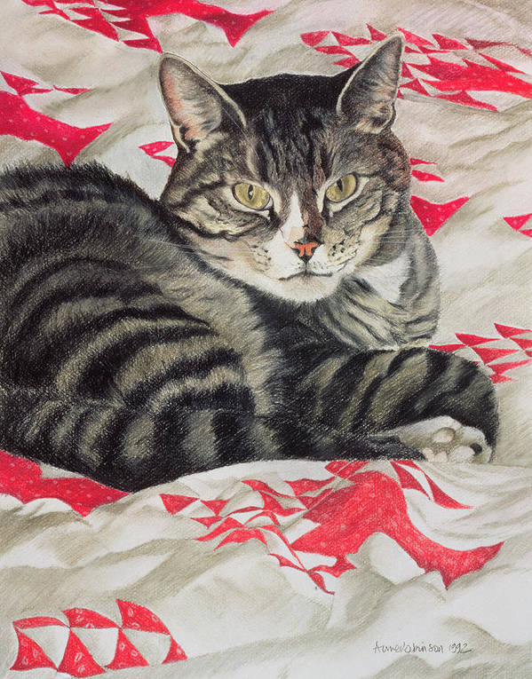 Striped; Stripes; Feline; Portrait; Pet; Relaxing; Relaxed; Grey; Gray; Staring Poster featuring the painting Cat On Quilt by Anne Robinson