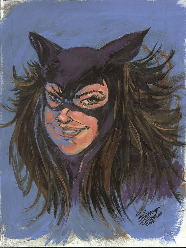 Cat Woman Poster featuring the painting Cat Woman01 by Simon Drohen
