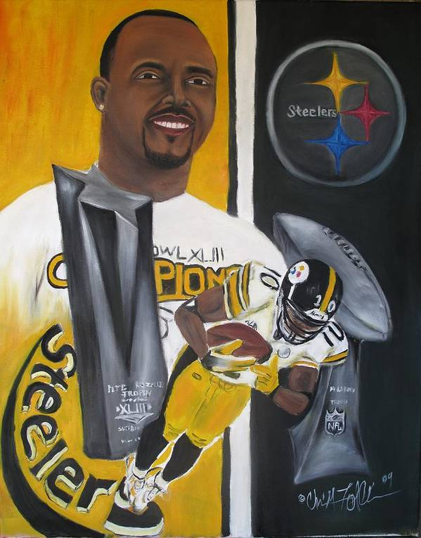 Football Poster featuring the painting Catching Six by ChrisMoses Tolliver