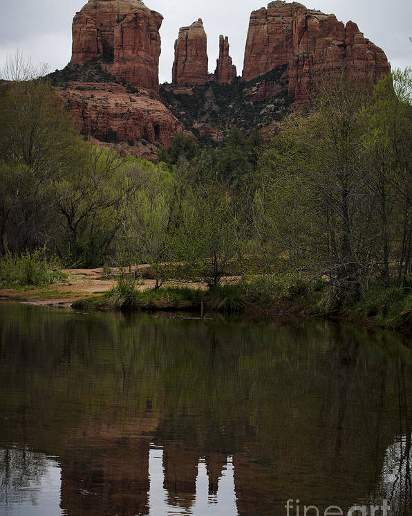 Cathedral Poster featuring the photograph Cathedral Rock And Reflection by Dave Gordon