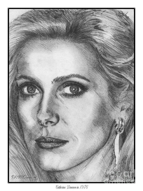 Mccombie Poster featuring the drawing Catherine Deneuve In 1976 by J McCombie