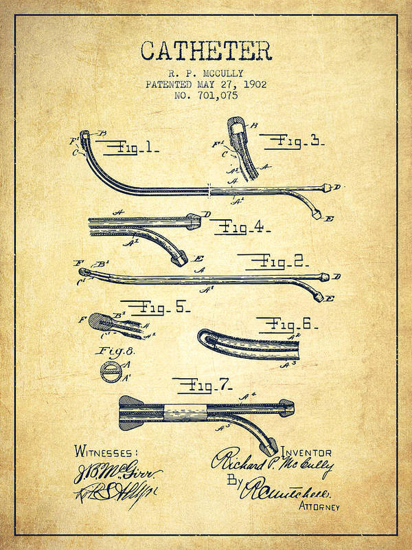 Catheter Poster featuring the digital art Catheter Patent From 1902 - Vintage by Aged Pixel