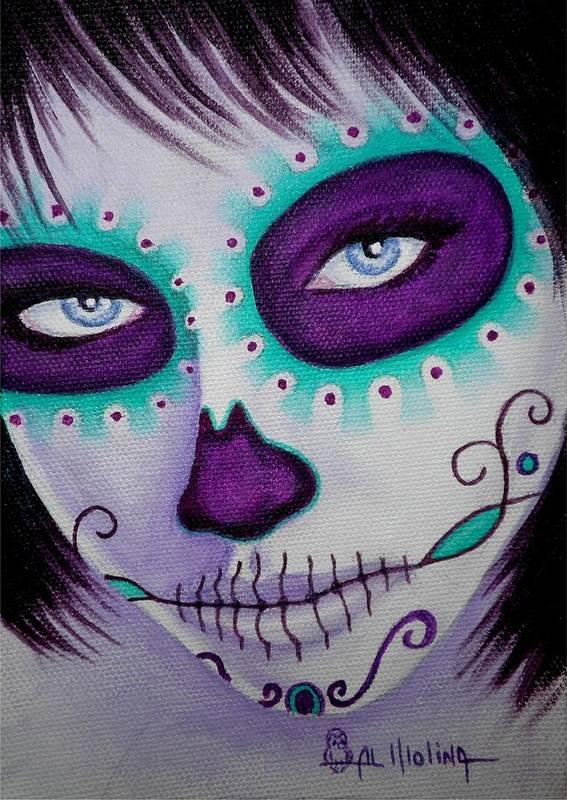 Dia De Los Muertos Poster featuring the painting Cautivado Por La Belleza Raven by Al Molina