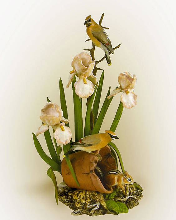 Nature Poster featuring the sculpture Cedar Waxwings And Iris by Mary Mcgrath
