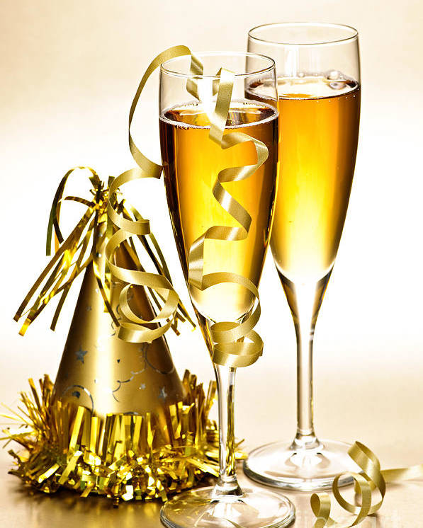 Champagne Poster featuring the photograph Champagne And New Years Party Decorations by Elena Elisseeva