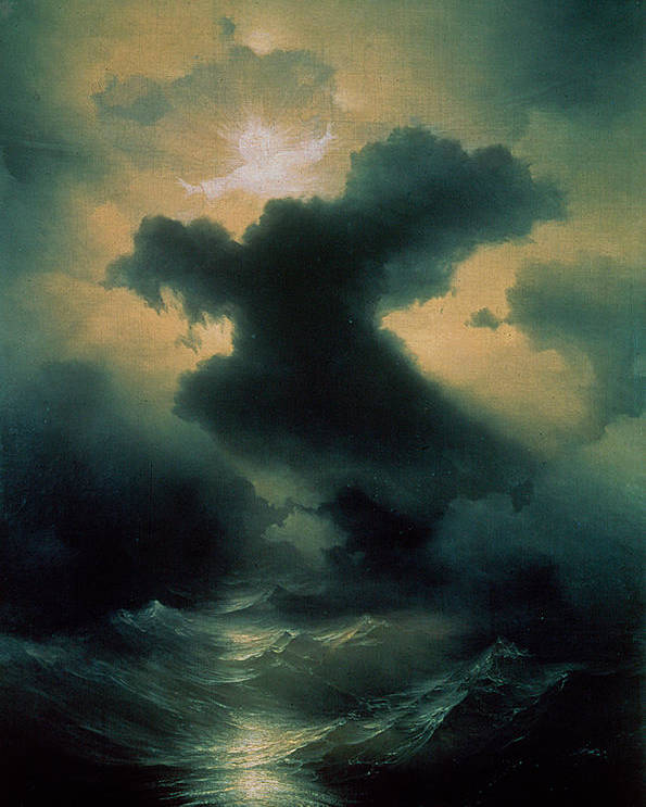 Parting; Waves; Water; Sea; Sky; Heavens; God; Genesis; Biblical; Storm; Power Poster featuring the painting Chaos The Creation by Ivan Konstantinovich Aivazovsky