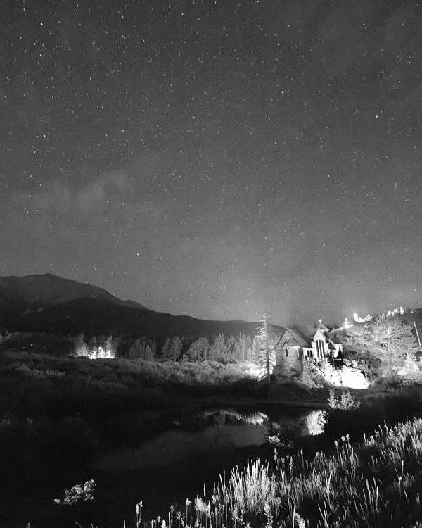Old Churches Poster featuring the photograph Chapel On The Rock Stary Night Portrait Bw by James BO Insogna
